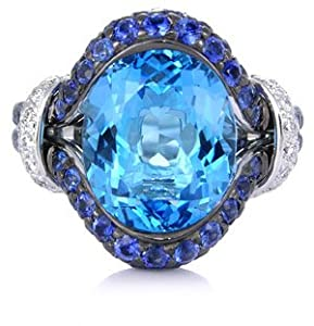 Diamond Blue Sapphire & Blue Topaz 18k White Gold Right Hand Ring
