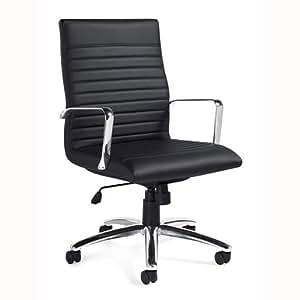 11730B Luxhide Executive Chair, Black Luxhide, Chrome Arms & Base