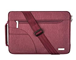 Mosiso Laptop Sleeve Case, Polyester Shoulder Bag Cover Briefcase Handbag for 15-15.6 Inch Laptops/Notebook/MacBook Air & Pro/Chromebook (Internal Dimensions: 15.16 x 0.79 x 10.63 inches), Wine Red