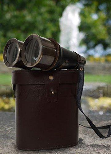 Antique Black Binocular VINTAGE Nautical Marine Spyglass Brass Binocular/Telescope with Leather case ANTIQUES 0