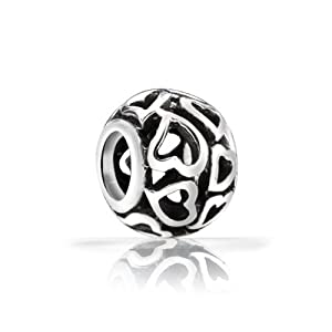 Bling Jewelry Open Heart Bead Filigree Sterling Silver Fits Pandora Charms
