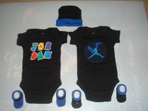 Nike Jordan 5 Piece Baby 0-6 Months Bodysuits, Booties and Cap Onsie