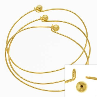 Gold Plate Wire Beading Bracelet With Ball Add A Bead (3)