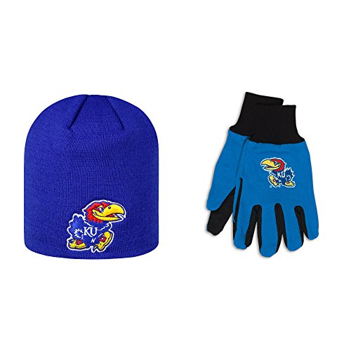 NCAA Kansas Jayhawks Uncuffed Knit Classic Beanie Stocking Stretch Sock Hat Cap One Size Sport Utility Work Gloves Bundle 2 Pack By Top of the World Wincraft (Champion Premiere 2 compare prices)