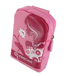 Fashion (Flower Lady / Pink) Nylon Padded Case for Universal Point and Shoot Camera and Camcorder