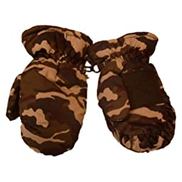Faded Glory Infant & Toddler Boys Green Cammo Winter Snow Mittens