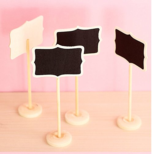 Worldoor® Mini Retangle Chalkboard Blackboard Stand Wedding Lolly Party Table Numbers Place Card Favor (Pack of 12)/ Mini Chalkboard Blackboards On Stick Stand Place Holder Wedding Event Party Decorations - 1