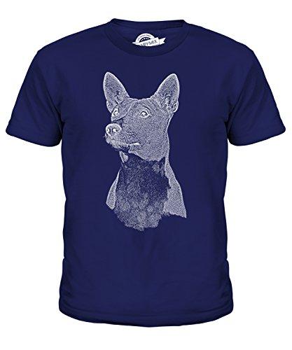 candymix-abbozzo-basenji-unisex-bambino-ragazzi-ragazze-t-shirt-taglia-4-anni-colore-blu-navy