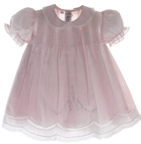 Baby Girls Pink Slip Dress With Lace Trim Feltman Brothers (3M) front-526957