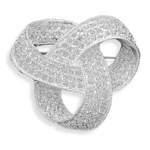 CleverSilver's Silver Plated Crystal Love Knot Fashion Pin