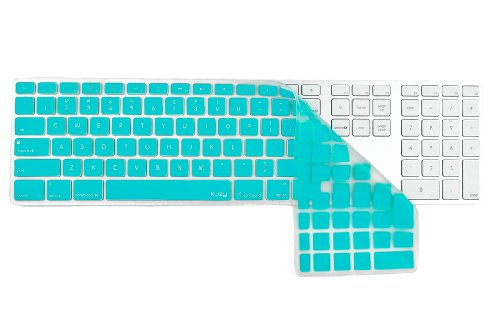 Kuzy - Full Size Teal Keyboard Cover Skin Silicone For Apple Keyboard With Numeric Keypad Wired Usb For Imac - Teal