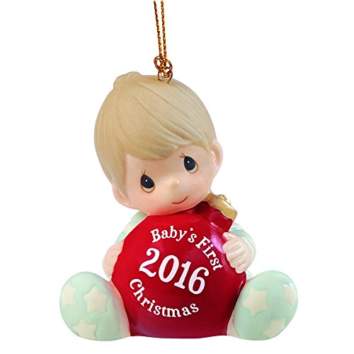 """""""Baby's First Christmas 2016"""", Baby Boy, Bisque Porcelain Ornament"""