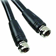 TPI F Series PVC Jacketed RG-6 Coaxial Cable Assembly with Screw-On F-Type Connectors, 73 Ohms, 100' Length, Black