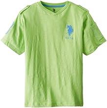 US Polo Assn Big Boys39 Short Sleeve Slub V-Neck T-Shirt with Large Pony