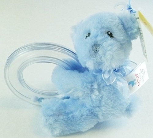 "4"" Plush Gund Baby ""My First Teddy"" Ring Rattle - Blue"