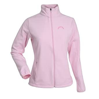 NFL Ladies San Diego Chargers Sleet Micro Fleece Sweatshirt (Mid Pink, Medium) by Antigua