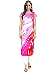 Janasya Women's Multi Digital Printed Crepe Kurti