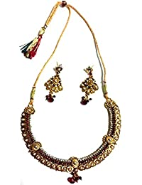 Sharan's Handmade Collection-pearl And Maroon Stone Studded Creative Necklace Set With A Pair Of Ear Rings
