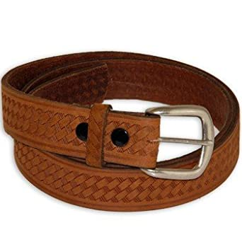 tooled basketweave genuine leather work belt made in usa