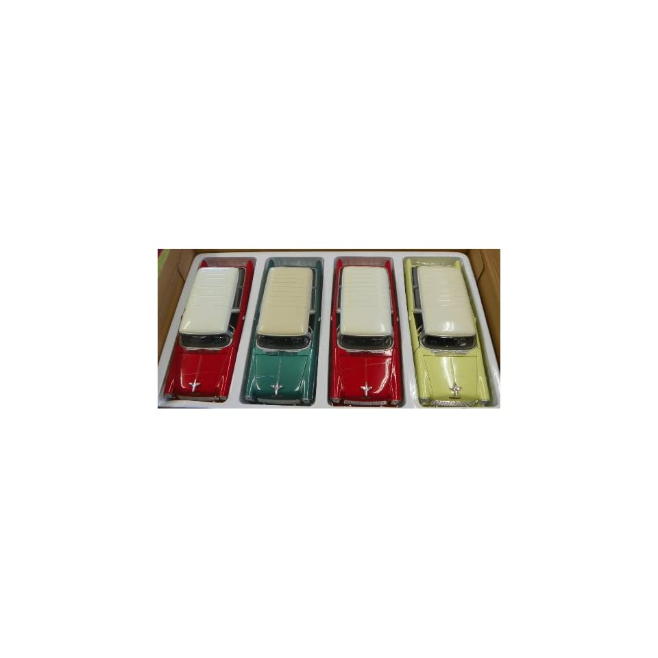 Motormax 1/24 Scale Diecast 1955 Chevy Bel Air Nomad Display BOX of 4 Cars YOU GET TWO RED with White TOP and ONE Green and ONE Yellow with White TOP