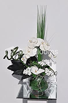 Classic White Phalaenopsis Orchid & Bamboo Flower Arrangement