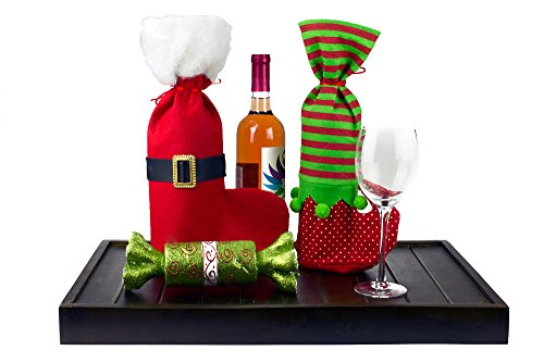 Pack of 4 Christmas Wine Gift Bags Set - 4 Pcs Drawstring Christmas Treat or Candy Bags (Santa & Elf)