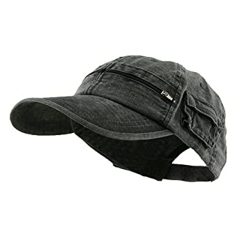 Cotton Washed Pocket Cap - Black