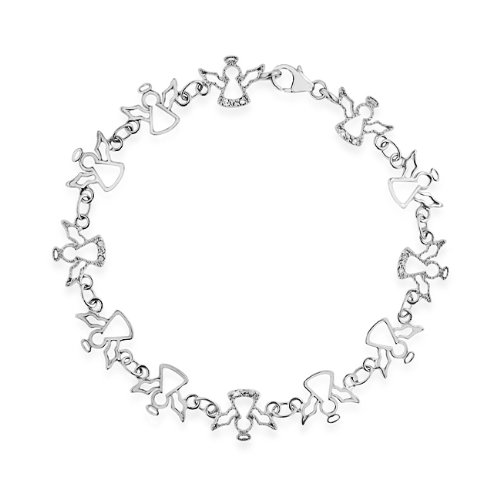 Sterling Silver Diamond Angel Bracelet - 7.5