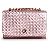 Tory Burch Marion Embossed Metallic Cosmetics Case (Rose Gold)