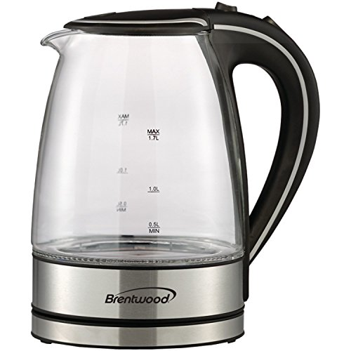 Brentwood Appliances KT-1900BK Tempered Glass Tea Kettles, 1.7-Liter, Black (Cordless Teapot Lamp compare prices)
