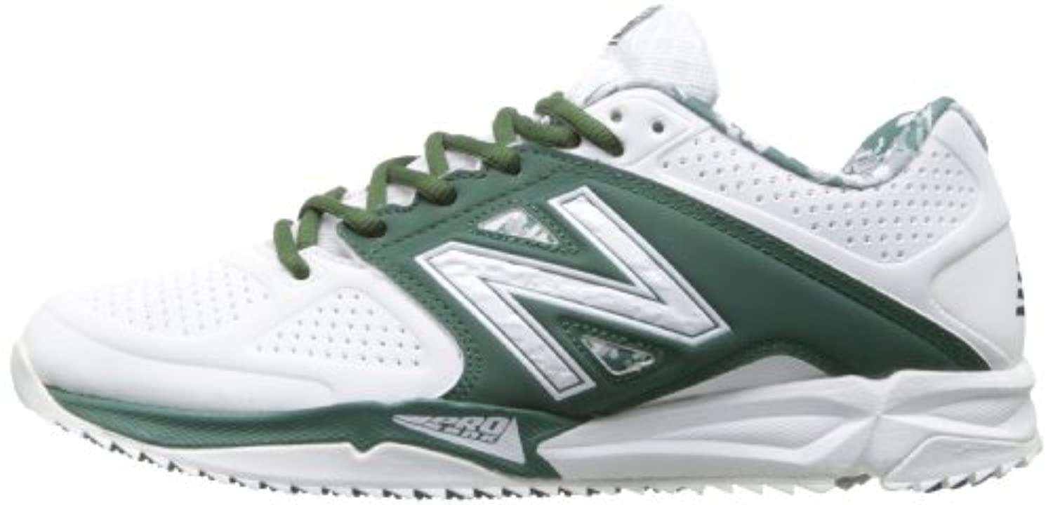 New Balance Men's T4040 Baseball Turf Shoe,White/Green,8 D US
