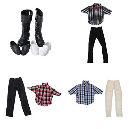 3 Paia Di Scarpe Da Bambola Di Plastica con 3x T- shirt con Pantoloni set Vestiti per Bambole Barbie Ken