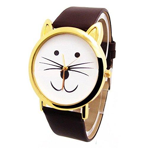 Cute Cat fronte in finta pelle, Orologio da polso da donna orologi, Leopard01, Taglia unica