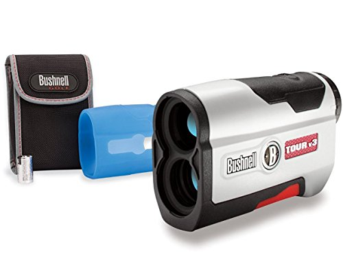 Bushnell Tour V3 Golf Rangefinder PATRIOT PACK BUNDLE (Standard Version) - Includes Carrying Case, Blue Protective Skin, Lens Cloth and Two (2) CR2 Batteries - Features JOLT and PinSeeker Technology (Range Finder Case compare prices)