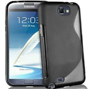 Bingsale® S-TPU Skin Case Samsung Galaxy Note 2 N7100 Silikon Tasche Hülle - Silicon Protector Schutzhülle Transparent Schwarz + Displayschutzfolie Samsung Galaxy Note 2 N7100 Schutzfolie Folie