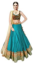 Sweety Plus Women's Bhagalpuri Silk Lehenga Choli (Mira_0029_Sky Blue_Free Size)
