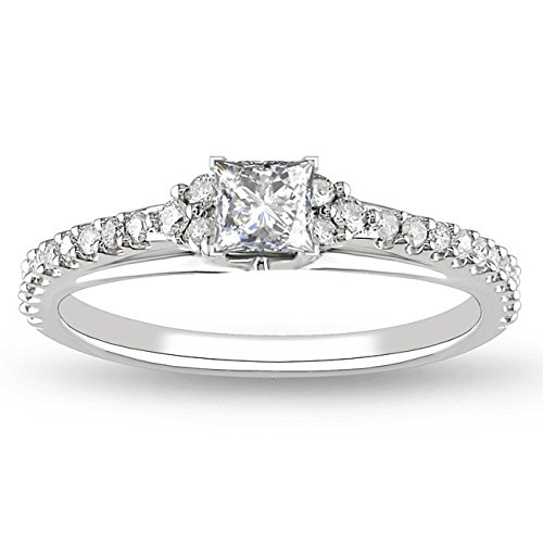 0.58 Carat Vintage Inexpensive Engagement ring with Princess cut Diamond on 14K White gold