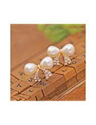 Glitz Fashion Rhinestone Alloy Bow Double Pearl Stud Earrings For Women Gift Jewelry