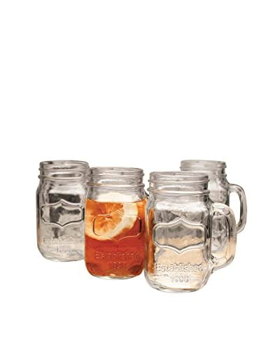 Circleware Set of 4 Yorkshire 17.5-Oz. Mason Jar Mugs