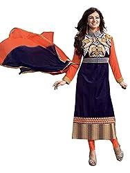 Labhde Women's Blue Orange Cotton Salwar Suit Dress Material