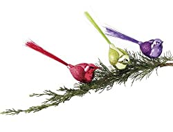 Sugared Fruit Purple Glitter Glass Bird Clip-On Christmas Decoration 7""