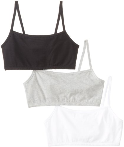 Fruit Of The Loom Women'S 3 Pack Cotton Pullover Sportsbra, White/Grey Heather/Black Hue, Size 38