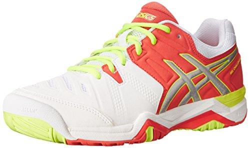 ASICS Women's Gel-Challenger 10 Tennis Shoe,White/Hot Coral/Silver,9 M US