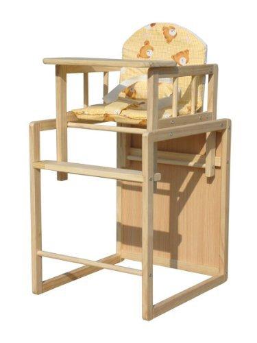 FoxHunter Baby Hochstuhl Hochstuhl Fütterung Sitz Tisch 2 In 1 einstellbare hölzerne Kissen gelb neu