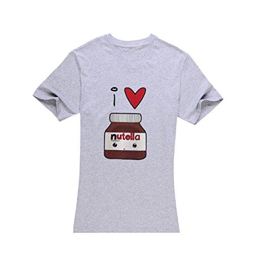 Women's Grey Short-Sleeved, I love Nutella T-Shirt - laimao(S)