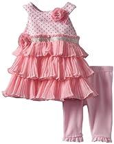 Nannette Baby-girls Newborn 2 Piece Newborn Knit Dress and Knit Pant Set, Pink, 0-3 Months