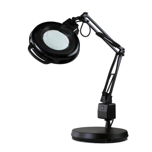 Electrix 7126 BLK Magnifier Lamp, Fluorescent, Weighted Base Mounting, 5-Diopter, 30