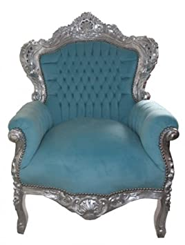 Baroque Armchair 'King' Blue / silver antique style furniture
