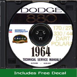 1964 Dodge Car Shop Service Repair Manual Cd (With Decal) 64