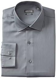 Kenneth Cole Men\'s Textured Regular Fit Solid Spread Collar Dress Shirt, Grey, 15.5\